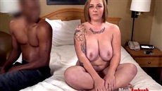 fat woman gets from black cock into pussy in bed