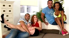 Interracial gangbang with a redhead russian bitch and a black woman