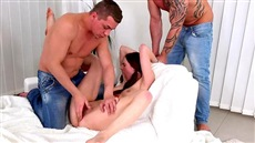 two mature man showing the woman the dominant group sex